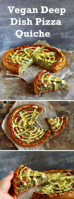 A sweet potato crust filled with pizza tomato sauce, a 'ricotta' and kale filling, roasted Mediterranean veggies and a cheesy tahini sauce.
