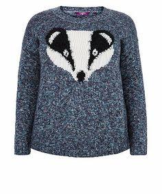 Navy (Blue) Inspire Navy Badger Knitted Jumper   285356841   New Look