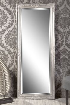 Mirror wall mirror Louisa Baroque antique silver 150 x 60 cm in Furniture & Living, D . Awesome Bedrooms, Cool Rooms, Interior Design Living Room, Room Interior, Baroque, Monochromatic Room, White Mirror, Living Room Mirrors, Small Apartment Decorating