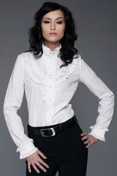 sklep.nife.pl White Shirts, White Blouses, Street One, Zendaya, What I Wore, Collars, Ruffle Blouse, Cosmos, How To Wear