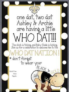 Saints Baby Shower Invitation AH!!!!!!!!!!! This makes me so happy!!!!