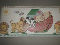 """Whimsical Noah's Ark Animals Wallpaper Border 7"""" Wide, 15 Ft. Long NEW"""