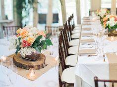 Airlie pavilion wedding reception | Wedding table setting | Wood centerpiece | Photo credit: Jillian Michelle Photography