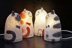 Felt cat lamps -My favourite's the marmalade one Needle Felted, Wet Felting, Crazy Cat Lady, Crazy Cats, I Love Cats, Cool Cats, Cat Lamp, Felt Cat, Cat Decor