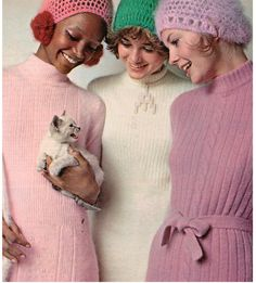 Cats is fashion. 60's angora sweater dresses and hats!