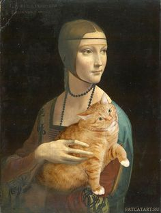 Russian artist Svetlana Petrova inserts her fat cat Zarathustra iInto Lady with an Ermine by Leonardo da Vinci (1489–1490)