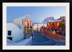 Restaurants in the village of Oia, Santorini, Cyclades Islands, Aegean Sea