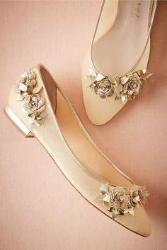 7f1604643273f Lennox Flats by Harriet Wilde in Gold    We re in awe of the beautiful  craftsmanship of these elegant flats  each gilded leather flower is made by  hand in ...
