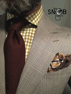WIWT POW check suit Suitsupply, mustard gingham shirt, brown knit tie pocket-square all Tom Ford