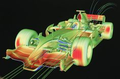 Computational Fluid Dynamics software is used during car design to identify the effects of downforce and windflow