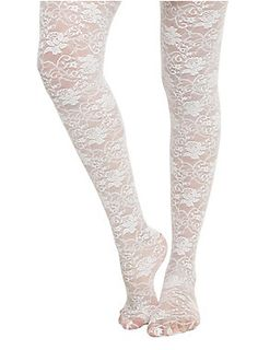 Sheer white tights from LOVEsick with a white rose design.