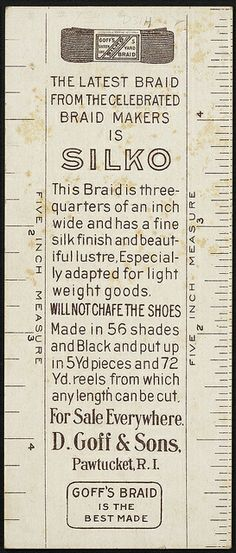 Ask for Goff's Silk Braid. Binder Labels, Boston Public Library, Vintage Sewing, Braids, Silk, Ephemera, Vintage Couture, Bang Braids, Cornrows