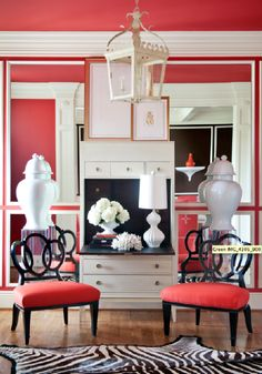 Toby Fairley Interior Design - Living Room... if I lived by myself I would so do this but I don't like Daniel would allow all the pink!