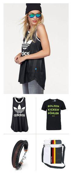 """Fantastisch gestylt und bestens ausgerüstet für die spontane Fußball-Party im Park: Das adidas-Funktionstop ist in schwarz, rot und goldfarben erhältlich, das """"Bolzen. Kicken. Pöhlen.""""-Shirt kommt aus der aktuellen DFB-Fankollektion, das dezente Fan-Armband ist von s.Oliver und die praktische Kühltasche stammt von Royalbeach."""