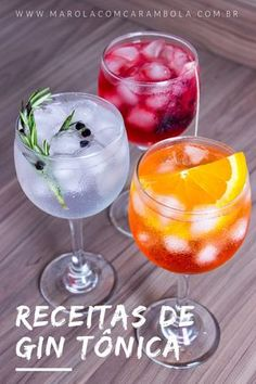Gin Drinks: 3 Gin Tonic Recipes to Escape the Traditional - Drinks com Gin: 3 Receitas de Gin Tônica para fugir do tradicional Gin Drinks: 3 Gin Tonic Recipes to Escape the Traditional. Bebida Gin, Bar Drinks, Alcoholic Drinks, Aperol Drinks, Drinks Alcohol, Healthy Eating Tips, Healthy Snacks, Cocktail Gin, Beste Cocktails