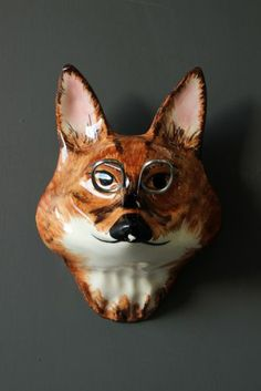 The Wall Mounted Ceramic Fox String and Scissor Holder  - Hand Made in England £24