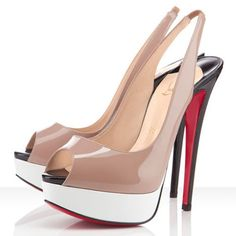 1a7d6501e755 Christian Louboutin Lady Peep 140mm Slingbacks Nude-White