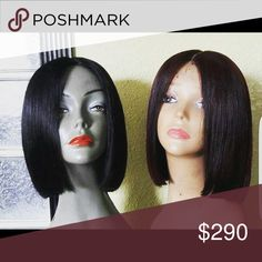 SALE SALE SALE This is a custom made Bob Human hair wig. It is a silk closure front wig that allows you to part your hair anywhere along the front portion of the wig .It is made of 9 ounces of virgin human hair, which is a natural density.This hair can be washed, heat styled, colored and treated like your own hair. This piece can be cut and styled however you'd like and you may request it in a longer length. Other