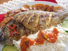 Nigerian Grilled Tilapia Fish Recipe  MADE IT - was quite good hot or cold. The curry kind of disappears into the mix, so increase or use a hot variety if you want the flavor to be noticeable. I broiled filets, about 3 min. per side with drum and with mullet - ymmv!