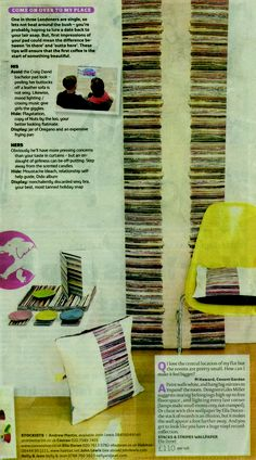 the london paper October edition, Stacks and Stripes wallpaper, cushions, table mats, coasters and notebooks by Ella Doran