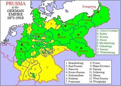 Prussia is in green, not yellow!  www.GermanGenealogist.com