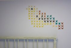 Home: Eleven Washi Tape Interiors Ideas  (via Becoming Gezellig: Cross-Stitch with Washi Tape)