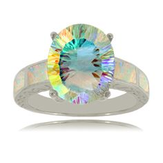 Sterling Silver Round Sea Mist Topaz Ring w Created Opal Accents | eBay $49.99