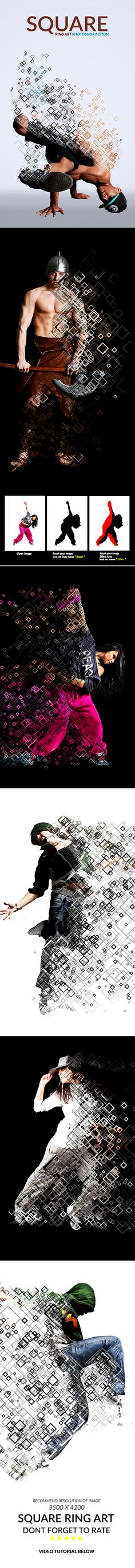 Square Ring Art Photoshop Action - Photo Effects Actions                                                                                                                                                                                 Mais