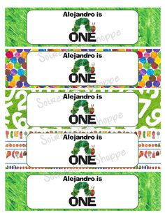 Custom Printable Hungry Caterpillar Birthday Theme Party Water Bottle Wrappers