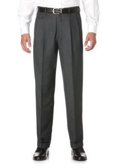 Savane Charcoal Big  Tall Straight-Fit Pleated Wrinkle-Resistant Dress Pants