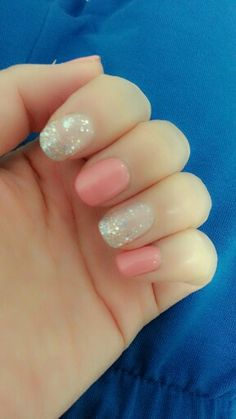 coral pink and silver sparkles