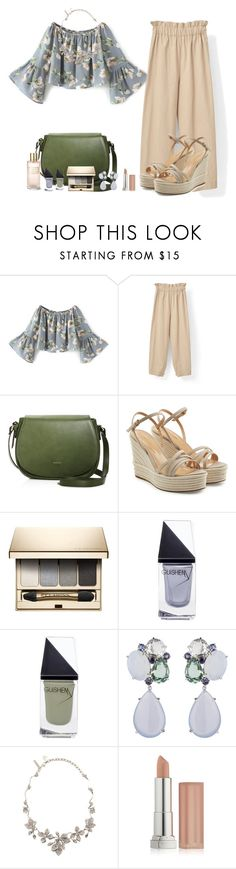 """""""Philips Cotton Pants"""" by akgsteeler ❤ liked on Polyvore featuring Angela Roi, Sergio Rossi, Clarins, GUiSHEM, Oscar de la Renta, Maybelline and Estée Lauder"""
