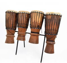 Originele set van 4 bougarabous uit Senegal Instruments, African Culture, Percussion, Drums, Accessories, Drum, Drum Kit, Musical Instruments, Tools