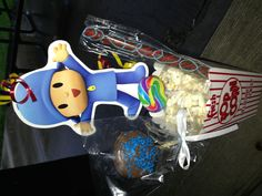 Pocoyo Themed Party Favor- Popcorn, Chocolate Covered Pretzel Sticks, Chocolate Dipped Oreos, Rainbow Lollipops.