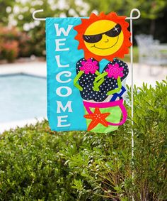 Make your garden cheery and bright with the Evergreen Flag Welcome Fun in the Sun Garden Flag , accented with a colorful sunshine, flip-flops,.
