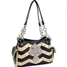 Western Rhinestone Studded Cross Handbag Purse With Chevron Design Black/Beige #Unbranded #ShoulderBag