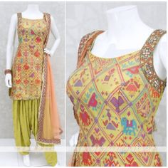 Patiala Suit in Yellow Bandhni Fabric and Full Stitched Patiala Patiala Suit Designs, Latest Salwar Suit Designs, Salwar Designs, Kurti Designs Party Wear, Dress Designs, Dress Indian Style, Indian Wear, Indian Outfits, Indian Dresses