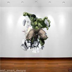 INCREDIBLE HULK MARVEL SUPERHERO Wall Art Sticker Decal Transfer Boys Bedroom   eBay