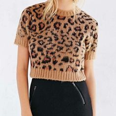 UO Cooperative Fuzzy Leopard Cropped Sweater NWOT. Perfect condition, but does have a marked label. This will also fit a small. Feel free to make me an offer! Urban Outfitters Sweaters Crew & Scoop Necks