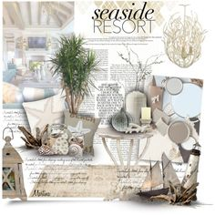 Seaside Resort by thewondersoffashion on Polyvore featuring interior, interiors, interior design, Casa, home decor, interior decorating, Thos. Baker, Sonoma life + style, Dot & Bo and Trilogy
