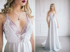 Elegant silk and lace wedding dress \ White prom dress \ Bohemian Boho or Beach wedding dress \ Simple wedding dress