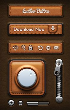 This free user interface has a leather texture with metal accents, and it includes lots of different useful elements.