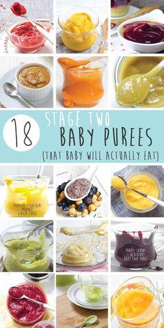 18 Amazing Stage Two Purees that will rock your baby's taste buds! These colorful homemade combination purees are full of flavor, nutrients and are a fun way for baby to experience the wonderful world of food, one which they will never forget. It's going to be a foodie trip of a lifetime, so