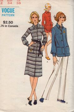 Free Us Ship Sewing Pattern Vogue 8095 Vintage Retro 1970s 70s Shirt Dress Fitted Shorts Pants Size 12 Bust 34  Uncut by LanetzLiving on Etsy