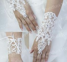 White Ivory Wedding Bridal Gloves Accessory Beaded Lace Sexy fingerless gloves