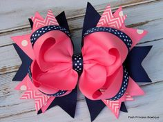 Girls hair bows Navy blue Pink Hair bows Stacked Hair Bow Big hair bows Boutique hair bows Chevron, Polka Dot, Headband, Babies, toddlers by PoshPrincessBows1 on Etsy https://www.etsy.com/listing/158121910/girls-hair-bows-navy-blue-pink-hair-bows