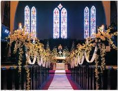 For a traditional church wedding I like this view, its a complete picture.