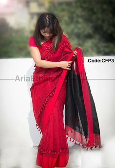 Lovely red and black saree designed with tassels