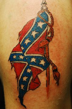 What does rebel flag tattoo mean? We have rebel flag tattoo ideas, designs, symbolism and we explain the meaning behind the tattoo. Side Tattoos, Tattoos For Guys, Cool Tattoos, Tatoos, Awesome Tattoos, Rebellen Tattoo, Southern Tattoos, Redneck Tattoos, Rebel Flag Tattoos