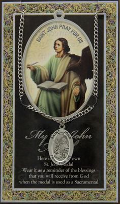 St. John the Evangelist Medal in Pewter with Bi-Fold Prayer Card : HPM033 #catholicfaithstore